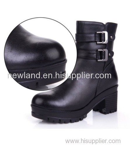 women genuine cow leather boots,rough heel,martin boots