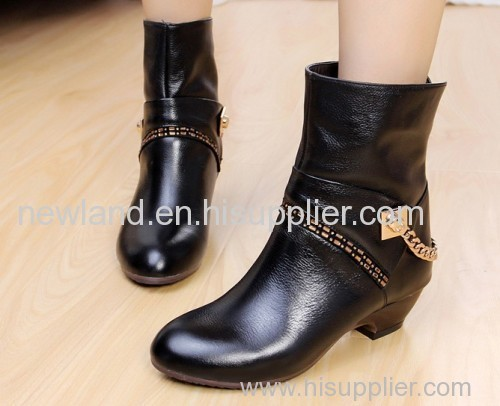 Lady genuine leather half boots