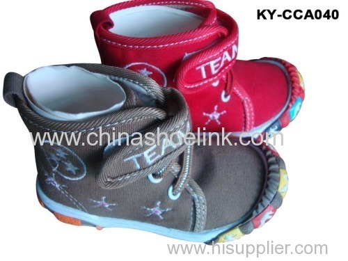 Mid cut children Canvas shoes with injection sole (KY-CCA 040)