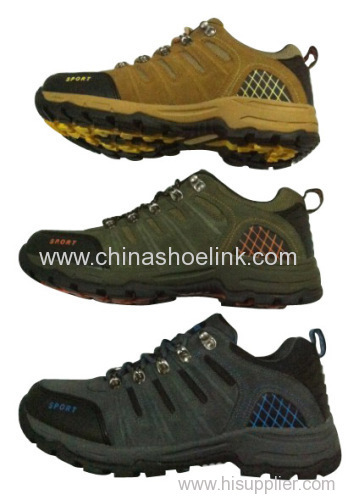 Men cow suede leather hiking shoes