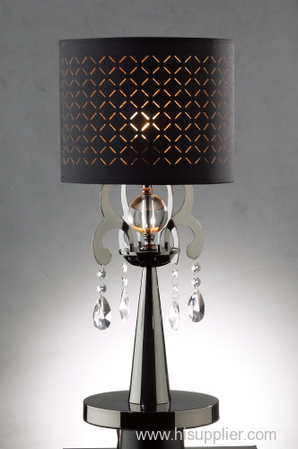 Modern decorative Crystal Stainless Shade Table Lamp of simple design w/ Fabric shade in different colour