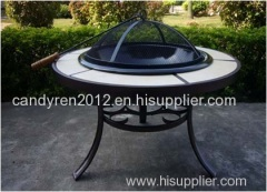 Round Tile Fire Pit Table