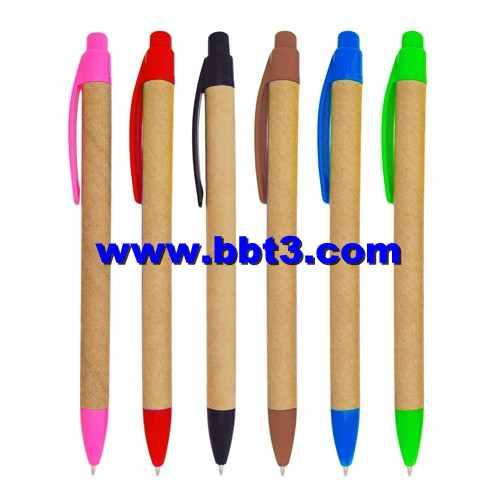 Eco paper promotional ballpoint pen with plastic trims