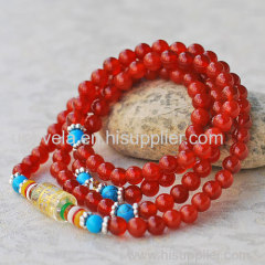 Red Agate Japa Mala with om mani padme hung Barrel Bead