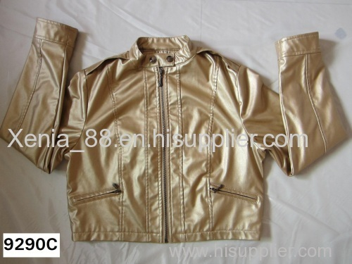 Ladies' pu jacket in stock goods