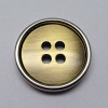 Sewing Button Brushed Anti Brass with Shiny Silver Color