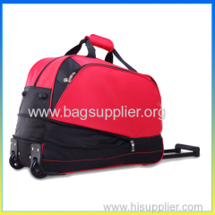 Stylish polyester duffel bag red luggage travel trolley bag