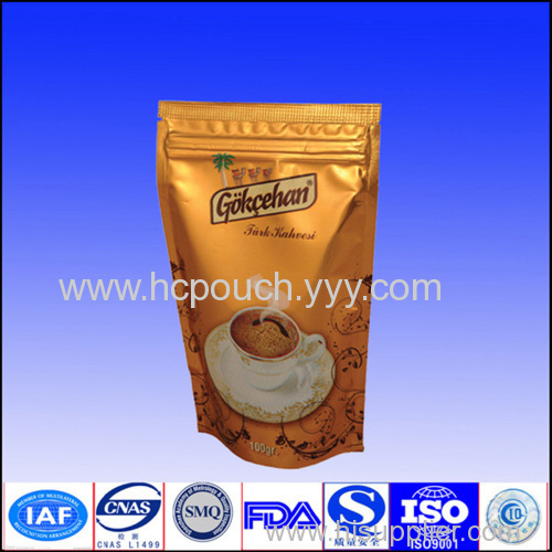 stand up coffee aluminium foil bag with zipper
