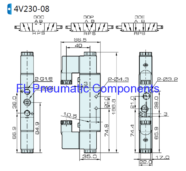 4V230E-08 Three Position Solenoid Valve