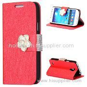 Silk Pattern Flower Magnetic Diamante Flip Stand PC+Leather Wallet Case for Samsung I9190 Galaxy S4 Mini(Red)