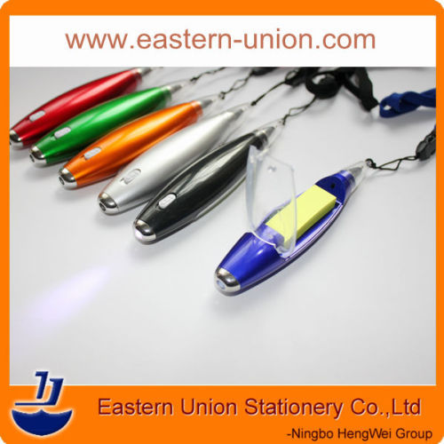 Special promotional ballpoint pens with note sticky notes and led light