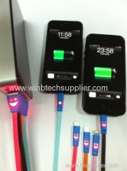 Lovely Smile Face LED Light Micro USB Data Sync Charger Cable For Samsung/ For HTC CellPhone Accessory For Most of Phone