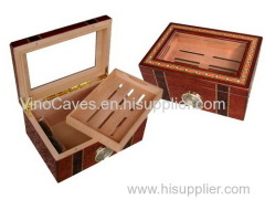 VINBRO.COM Professional Quality High Gloss Wooden Cigar Hum idor Box Case Desktop Glasstop Cigar Cabinet Jewel Boxes