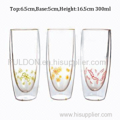 C&C Glass 300ml new design pure hand blown double wall glass tea cup