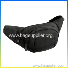 Fashionable polyester black sports waist belt bag