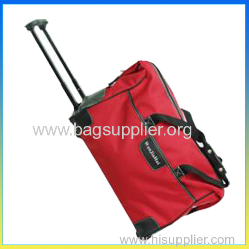 Hot selling travel polyester red duffel bag with trolley