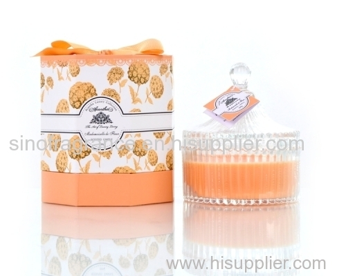 100% pure soy scented candle in glass jar with hard-box