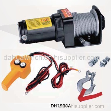 Mini 12v electric ATV winch 1500 lbs