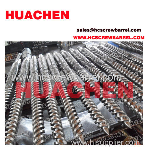 Conical doube twin screw barrel