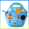 2014 fashion neoprene zippered lunch box school cooler bag