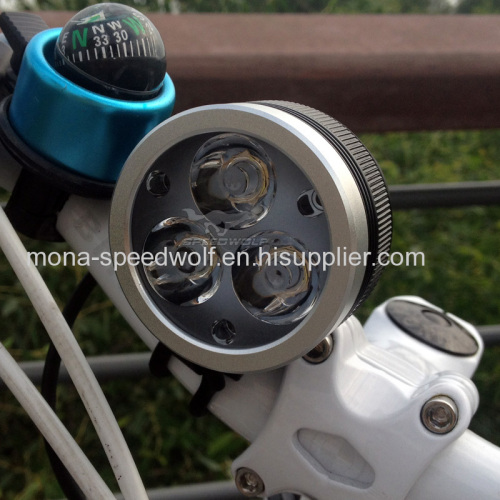 High power Speedwolf Wireless 3XCree xml U2/T6 4X26650 3600Lumen Rechargeable LED remote control bike light