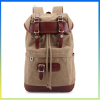 Vintage style fashion shoulders package canvas leather hiking bag backpack