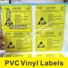 Custom Yellow PVC Vinyl Labels, Warning ESD PVC Labels with Glossy Lamination,Custom Vinyl Stickers