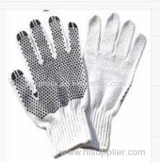 L White Pretty Knitted Cotton Gloves With PVC Dots For Garden Working