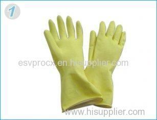 Reusable Durable Yellow Rubber Latex Household Glove With Flock Lined