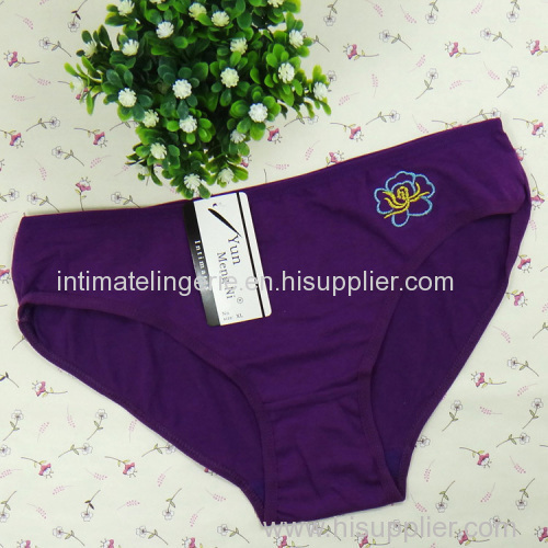 Plain embroidery lady's boyshort hipster cotton bikini panties stretch lady brief sexy underwear lingerie intimate under