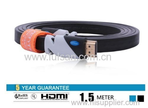 High Speed 1.5m 5FT 1.4a HDMI Flat Cable 1.4V 1080P HD w/ Ethernet 3D HDTV