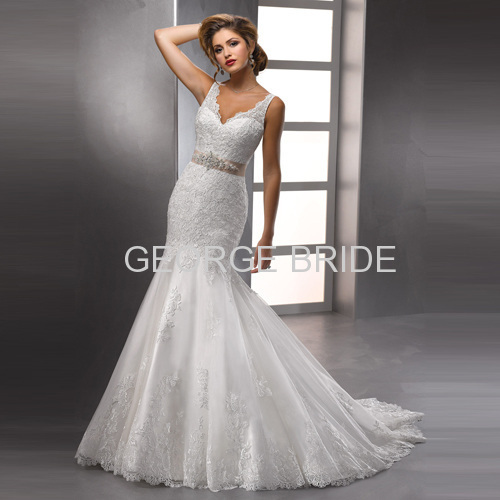 GEORGE BRIDE hot sale V-neckline delicate fit wedding dress with a beaded ribbon belt