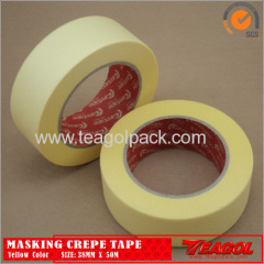 Yellow Crepe Paper Tape Industrial Purpose 38mm x 50m