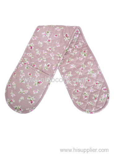 flower pink double oven mitt