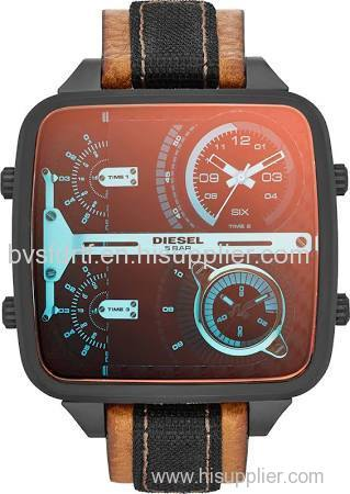 Diesel Multi Men's Brown and Black Leather with Black Stainless Steel Multi-Movement Analog Watch