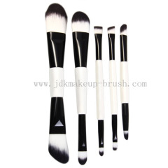 5pcs Double Ended Makeup Brush Cosmetic Set Kit with Cloth Brush Bag