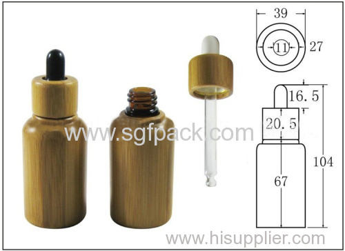 personal care bamboo oil bottle glass bottle with droper and glass tube 30ml bottle