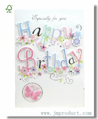 White Floral Birthday Greeting Card