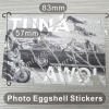 Custom Black White or Colorful Photo Eggshell & Eggskin Fragile Stickers With Strong Adhesive
