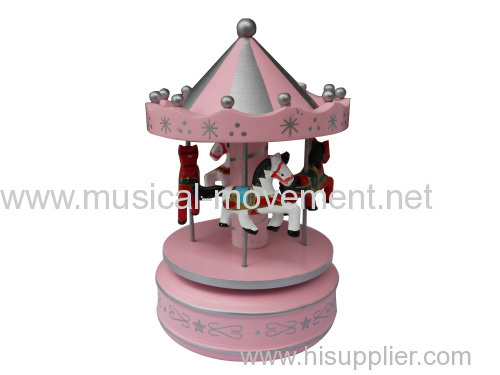 PINK WOODEN CAROUSEL WIND UP SPRING MUSIC BOX