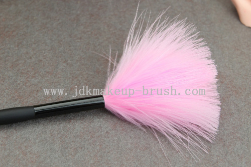 Pink turkey feather powder brush