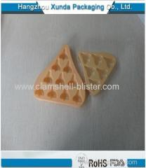 Plastic blister packaging tray for chocolate