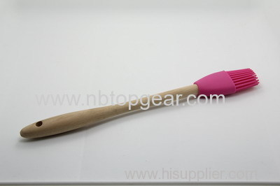 Wooden handle silicone basting BBQ brush