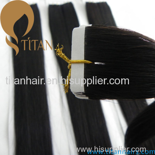 natural black silky straight 100% human hair tape in hair extension