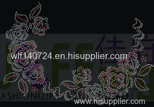 311The flowers of hothot-fix heat transfer rhinestone motif design