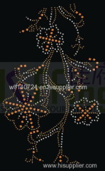 311Flower type maphot-fix heat transfer rhinestone motif design