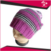 LADIES KNITTED PURPLE BEANIE