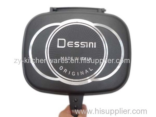 Dessini 36cm Cheap energy saving non stick double fry pan aluminum cast