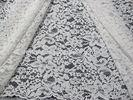 White Knitted Corded Lace Fabric Nylon Cotton Floral For Garment