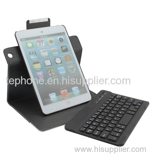 Leather Case cover with Removable Bluetooth Keyboard for iPad Mini